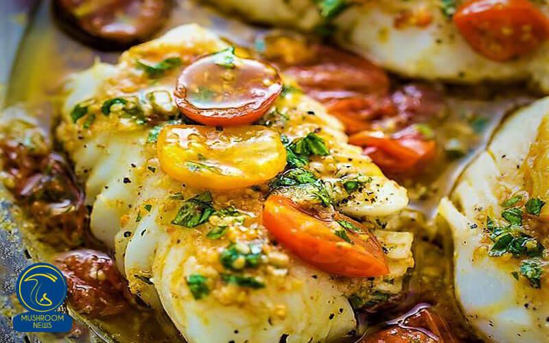 ماهی صدفی با سس گوجه و قارچ, هاگ