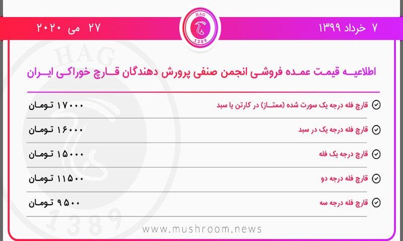 قیمت قارچ مورخ ۷ خرداد ۱۳۹۹